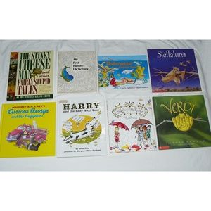 LOT 8 CHILDRENS BOOKS, HC & SC: Curious George Sti